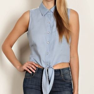 Tops - JUST IN!!  Floral Lace Yoke Chambray Crop Top
